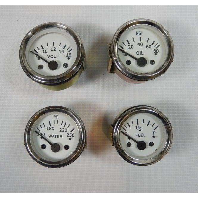 "2"" Dashboard Gauge Set of 4 Fuel, Water Temp, Voltmeter, Oil Pressure White Face"