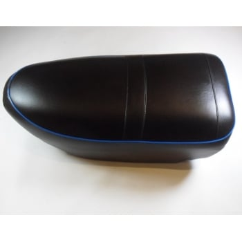 AJS / Matchless AJS Motorcycle Seat Heavy Weight Singles Pre 1956 Black With Blue Piping OEM 02-1199