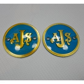 AJS Petrol Tank Badges Blue & Gold Sold as a Pair Made in UK OEM No 02-2520