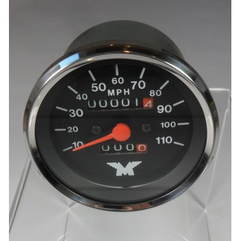 AJS / Matchless Harris Matchless Speedometer Black Face 10 - 110 MPH OEM No 63-0052