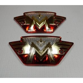 Matchless Tank Badges Red & Gold Sold as A Pair Made in UK OEM No 04-8499