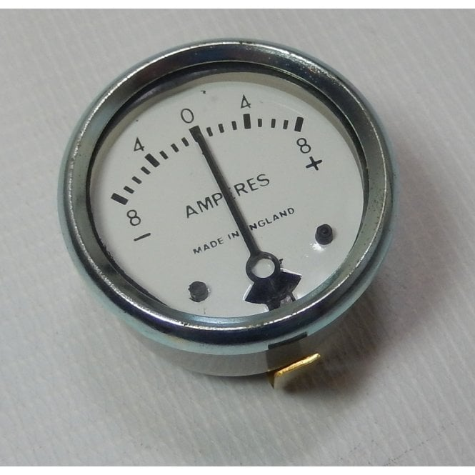 """Ammeter 1 3/4"""" 8-0-8 White Face for Classic Motorcycle Made in England"""