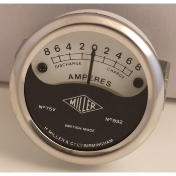 MILLER Ammeter Scale Reading 8-0-8 for Classic Motorcycle 2