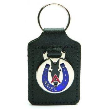Ariel Leather Key Fob With Enamel Badge Logo