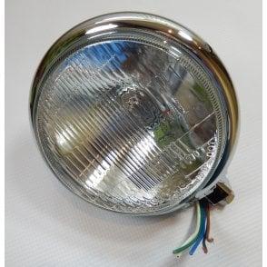 "Bates Type Headlamp Assembly 5 3/4"" Ideal For Cafe racer Halogen Bulb"