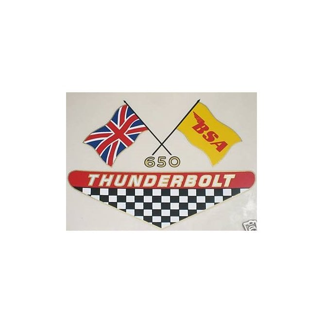 BSA 650 Thunderbolt Transfer With USA & UK Flags Made in UK