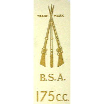BSA Arms 175cc Classic Motorcycle Transfer Sold in Singles Gold Lettering