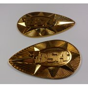 BSA Large Pear Shaped Tank Badges Finished in Gold Sold in Pairs