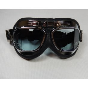 Emgo Leather/Chrome Goggles
