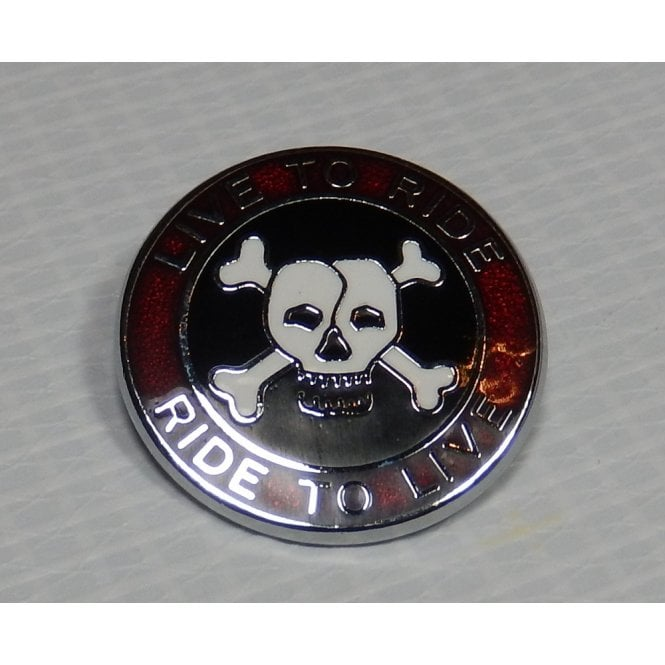BSA Live to Ride Pin Badge Enamel Red, Black & White & Chrome Finish