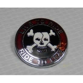 Live to Ride Pin Badge Enamel Red, Black & White & Chrome Finish