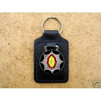 BSA Piled Arms Key Fob For Classic Motorcycle Leather Backed