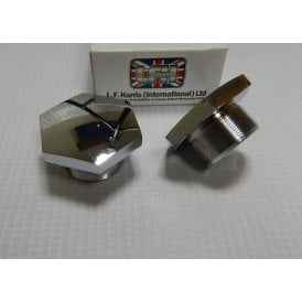 Triumph T100, T120, T150 Fork Nut Chrome 28TPI Sold As A Pair Made in England
