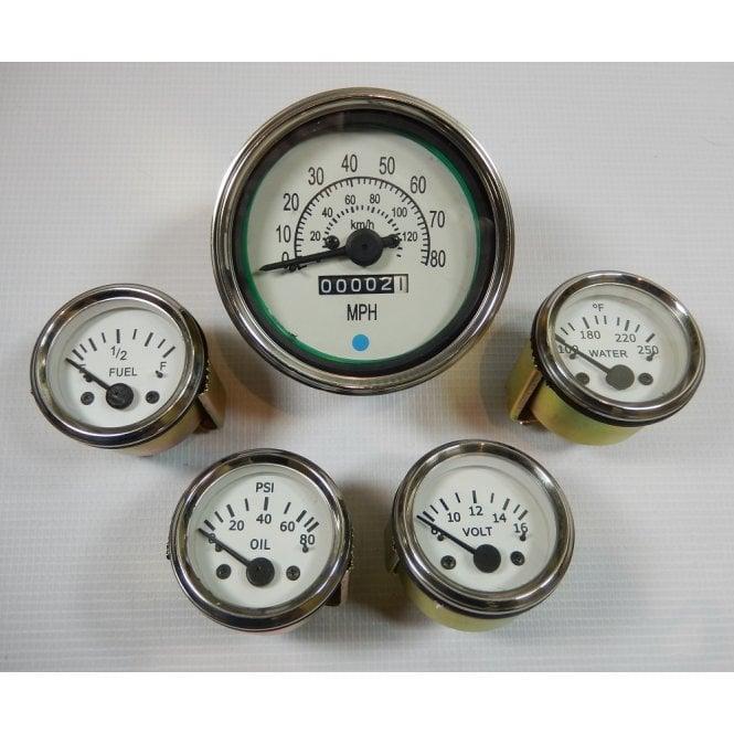 """Car Speedometer & 2"""" Dashboard Gauge Set of 4 Fuel, Water Temp, Voltmeter, Oil Pressure"""