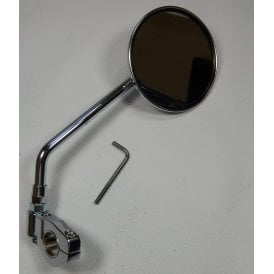 "Classic Bike Camp-on Universal Mirror for 7/8"" & 1"" Handlebars Finished in Chrome"