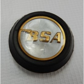 Classic BSA Tank Centre Grommet Badge Silver & Gold Complete With Rubber