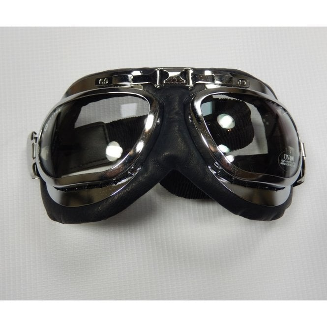 Classic Emgo Roadhawk Goggles Black Leather Finish With Chrome Trim
