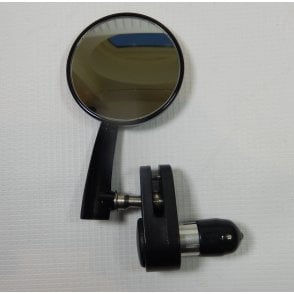 "Classic L/H Retro style Black 3"" Bar End round Mirror Left Hand Convex Lense"