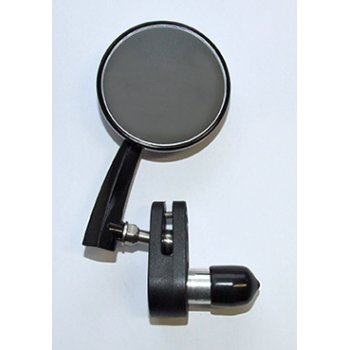 "Classic L/H Retro style Black 3"" Bar End round Mirror Left Hand"