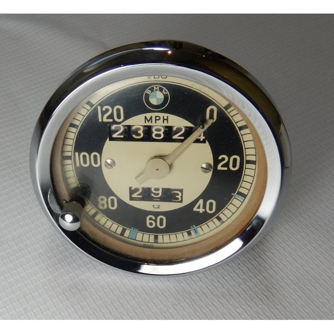 Classic Motorcycle Genuine BMW Speedometer 0-120MPH Circa 1960's New Bezel