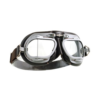 Halcyon Classic Motorcycle Genuine Goggles Black Leather Deluxe