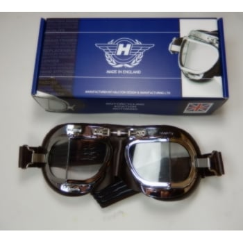 HALCYON Classic Motorcycle Goggles Brown Synthetic Leather & Chrome Finish