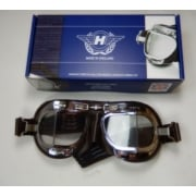 Classic Motorcycle Halcyon Goggles Brown Synthetic Leather & Chrome Finish