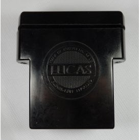 "Classic Motorcycle Lucas ""T"" Shaped Battery Box With Lucas Logo Complete With Lid"