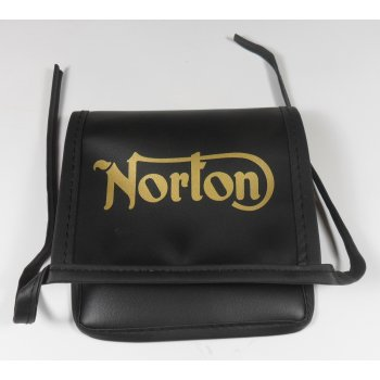 Norton Classic Motorcycle Tool Bag With Logo Synthetic Leather Finish
