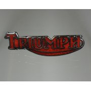 Classic Motorcycle Triumph Logo Pin Badge Red Enamel & Chrome Made in UK