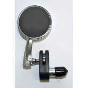 "Classic Retro style Alloy 3"" Bar End round Mirror Left Hand"