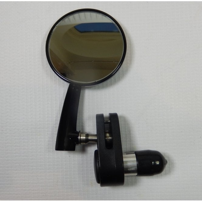 "Classic Retro style Black 3"" Bar End round Mirror Right Hand Convex Lense"