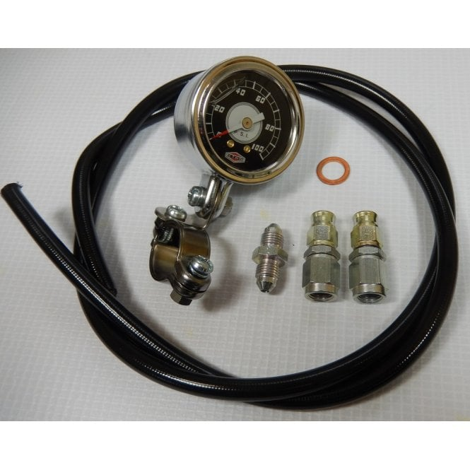 Classic Triumph Oil Pressure Gauge /0-100PSI / Kit, Pipe & All Fittings 1979 on Models