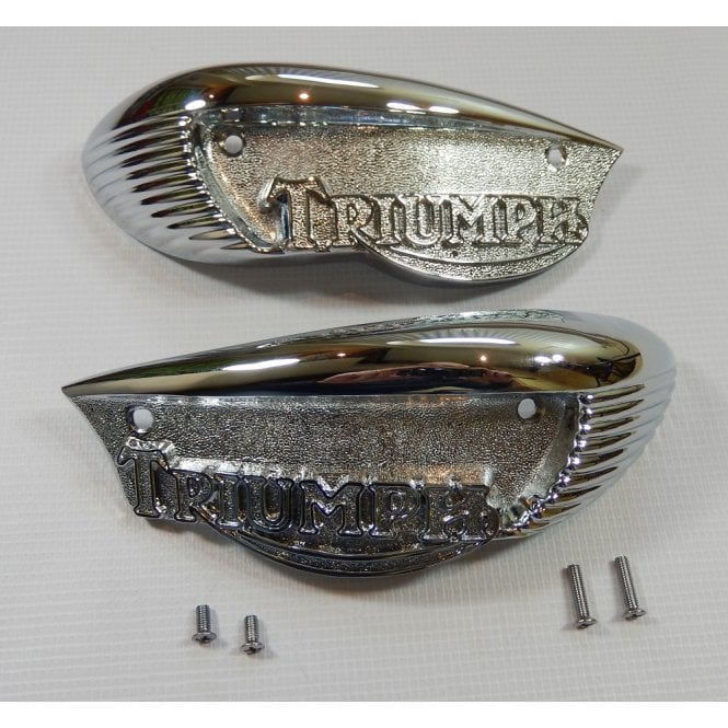 Triumph Classic T90 T100 T120 Eyebrow Tank Badge & Screw Set Sold in Pairs