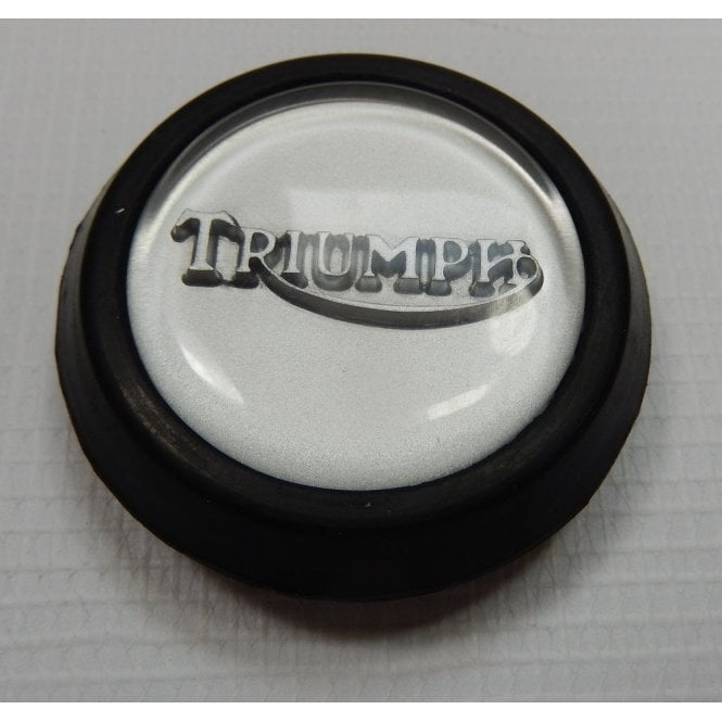 Triumph Classic Tank Centre Grommet Badge Silver Complete With Rubber