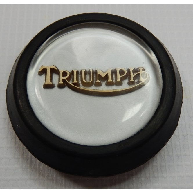 Triumph Classic Tank Centre Grommet Badge Silver & Gold Complete With Rubber