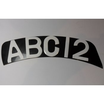 Curved Front Vintage Motorcycle Number Plate With Your Reg On in White Digits