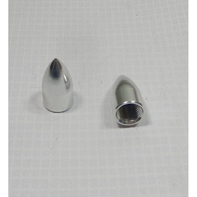 Custom Tyre Bullet Valve / Dust Cap Polished Alloy Finish Sold as a Pair