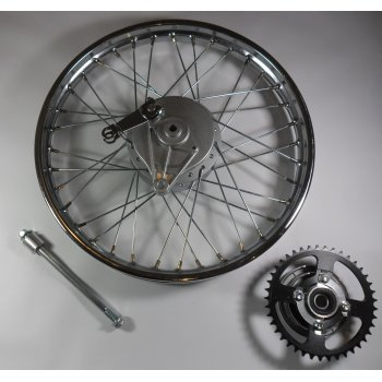 Honda Early C50,C70,C90 Rear Wheel Complete With Spindle, Brake Plate & Rear Sprocket