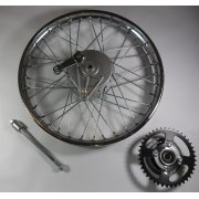 Early Honda C50,C70,C90 Rear Wheel Complete With Spindle, Brake Plate & Rear Sprocket