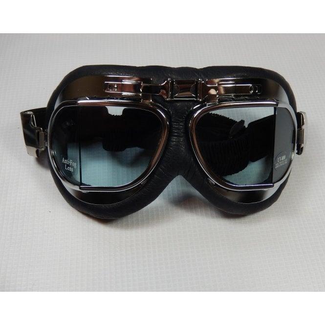 Emgo Leather & Chrome Goggles