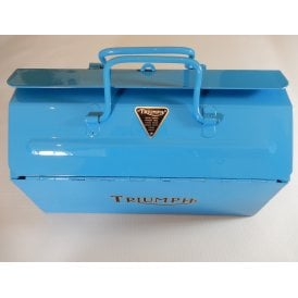 Genuine 1960's Metal Tool Box Powder Coated With Triumph Bonneville Blue Theme