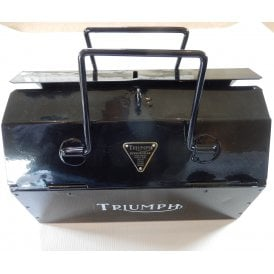 Genuine 1970 Metal Tool box Powder Coated Black With Triumph Bonneville Theme