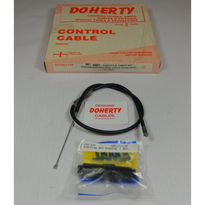 DOHERTY Genuine Throttle / Air Cable & Junction Box Set Triumph T150 Outer Cable 19