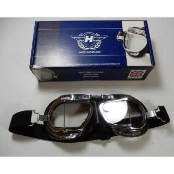 Halcyon Genuine Racing Goggles Chrome Frames Mark 9 Racing Made in England