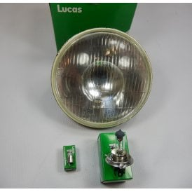 "Genuine Lucas Headlight 7"" Beam Unit & Bulb Set 12V P43t H4 60/55W & BA9S"