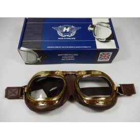 Halcyon Aviation Goggles Soft Brown Leather & Brass Finish Mark 8 Deluxe