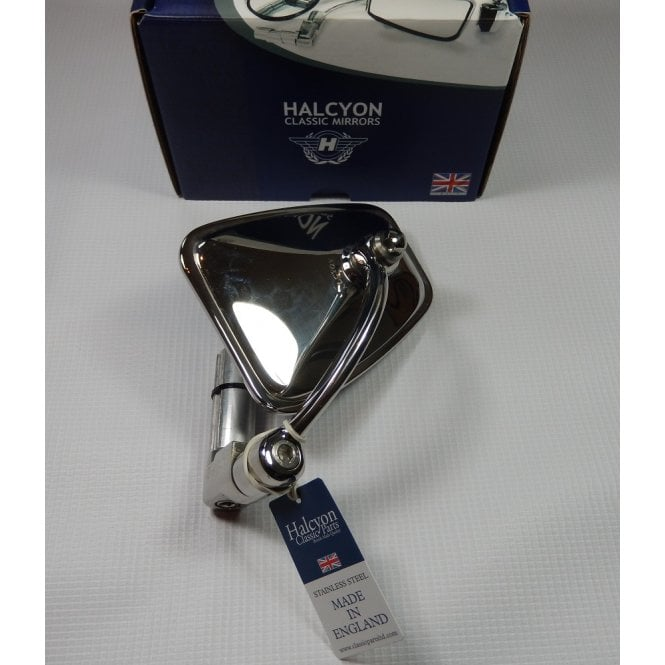 Halcyon Bar End Mirror Highly Polished Stainless Steel Rectangular Head