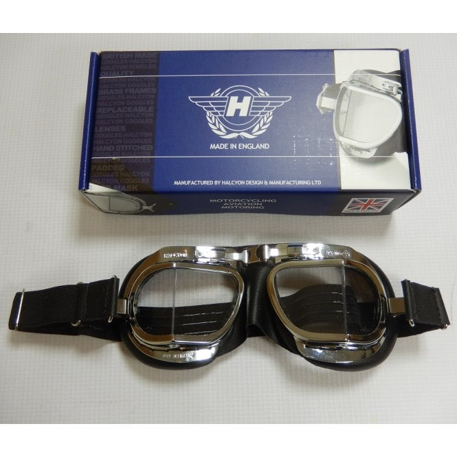 HALCYON Goggles Soft Black & Chrome Finish Mark 8 Deluxe Made in UK