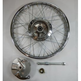 "Honda CG125 Front Wheel Complete 1.4 x 18"" Includes Brake Plate, Spindle & Speedo Drive"
